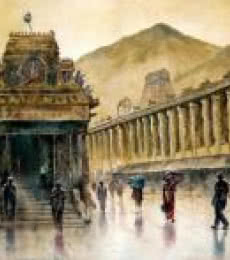 Cityscape Watercolor Art Painting title Temple Rainey by artist SRV ARTIST