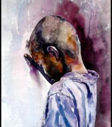 SRV ARTIST | Watercolor Painting title Village Children 2 on Handmade Paper | Artist SRV ARTIST Gallery | ArtZolo.com
