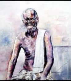 Figurative Watercolor Art Painting title 'Village Farmer' by artist SRV ARTIST