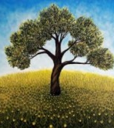 Nature Acrylic Art Painting title The Lonely Tree by artist Seby Augustine