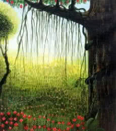 Garden View | Painting by artist Seby Augustine | acrylic | Canvas