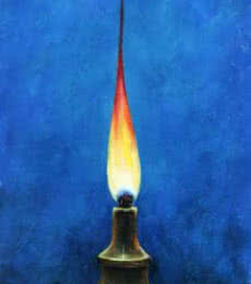 Seby Augustine | Acrylic Painting title The Oil Lamp on Canvas | Artist Seby Augustine Gallery | ArtZolo.com
