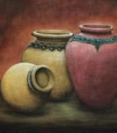 Still-life Acrylic Art Painting title Togetherness by artist Seby Augustine