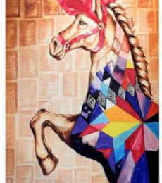 Animals Acrylic Art Painting title 'Carnival horse' by artist Gunjan Adya