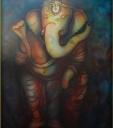 Ganesha Series   Mixed_media by artist Sripad Kulkarni   Canvas