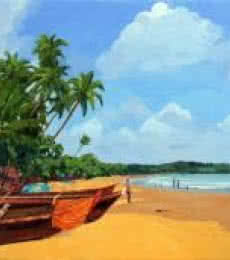 Landscape Oil Art Painting title 'Goa Beach' by artist Tushar Patange