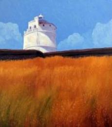 Landscape Oil Art Painting title Light House by artist Tushar Patange