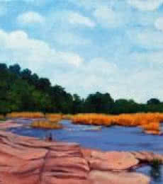 Landscape Oil Art Painting title 'Riverside' by artist Tushar Patange