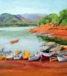 Landscape Oil Art Painting title Standing 02 by artist Tushar Patange