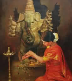 Religious Oil Art Painting title Devotion by artist Kamal Rao