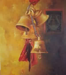 Kamal Rao | Oil Painting title Bells and Ganesha 2 on Canvas | Artist Kamal Rao Gallery | ArtZolo.com