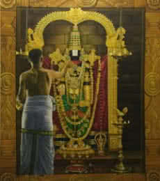Kamal Rao | Oil Painting title Tirupati Balaji on Canvas | Artist Kamal Rao Gallery | ArtZolo.com