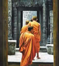 Kamal Rao Paintings | Figurative Painting - Monks by artist Kamal Rao | ArtZolo.com