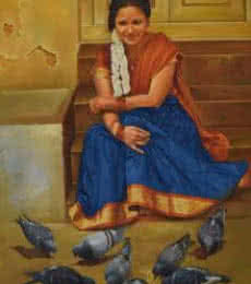 Figurative Oil Art Painting title Lady with Pigeons by artist Kamal Rao