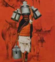 Realistic Oil Art Painting title 'Milkman' by artist Kamal Rao
