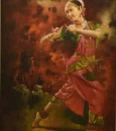 Photorealistic Oil Art Painting title 'Dancing Lady' by artist Kamal Rao