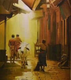 Cityscape Oil Art Painting title 'Street of Banaras' by artist Kamal Rao