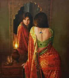 Lady in the Mirror | Painting by artist Kamal Rao | oil | Canvas