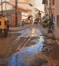 Road Replaction   Painting by artist Sachin Sawant   oil   Canvas