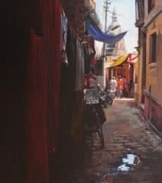 Landscape Oil Art Painting title Holy Lane Banaras by artist Sachin Sawant