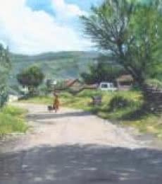 Landscape Oil Art Painting title 'A Gleeful Village' by artist Vivek Vadkar