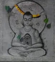 Mohd. Shakeel Saifi | Mixed-media Painting title Buddha In Deep Meditation on Canvas | Artist Mohd. Shakeel Saifi Gallery | ArtZolo.com