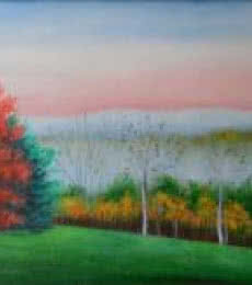 Landscape Oil Art Painting title 'Colors Of Fall' by artist Kaladikam Arts
