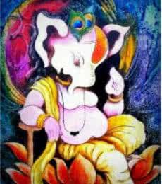 Lord Ganesha with a unique look | Painting by artist Mohd. Shakeel Saifi | oil | Paper