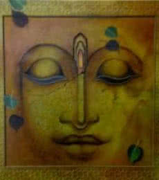 Religious Mixed-media Art Painting title 'Impression Of Buddha' by artist Mohd. Shakeel Saifi