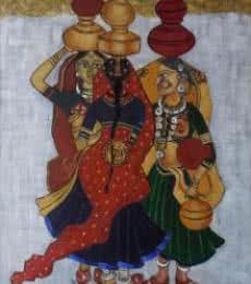 Figurative Oil Art Painting title 'Panghat Gossip' by artist Kaladikam Arts