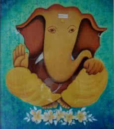 Religious Oil Art Painting title 'Vinayak' by artist Kaladikam Arts