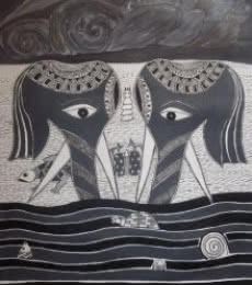 Preeti Das | Acrylic Painting title Elephant Couple on Canvas | Artist Preeti Das Gallery | ArtZolo.com