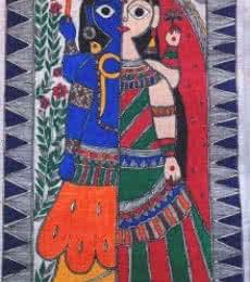 Religious Acrylic Art Painting title 'Ardhangini' by artist Preeti Das
