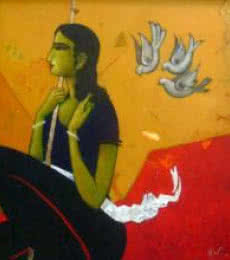 Figurative Acrylic Art Painting title 'An Indian Girl' by artist Sanjay Tikkal