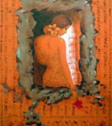 Figurative Acrylic Art Painting title Beautiful Woman by artist Manoj Sen