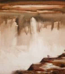 Couple At The Waterfall I | Painting by artist Javed Ichalkaranjik | acrylic | Canvas