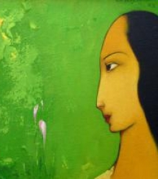 Gazing Woman | Painting by artist Giram Eknath | acrylic | Canvas