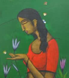 Figurative Acrylic Art Painting title 'Girl Catching Butterfly' by artist Sanjay Tikkal