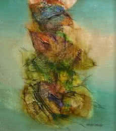 Deepak Khogre | Acrylic Painting title Green Abstract on Canvas | Artist Deepak Khogre Gallery | ArtZolo.com