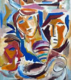 Hued Family | Painting by artist Swami | acrylic | Canvas