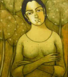 Manoj Aher | Acrylic Painting title Indian Girl on Canvas | Artist Manoj Aher Gallery | ArtZolo.com