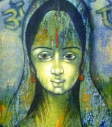 Figurative Acrylic Art Painting title 'Indian Woman' by artist Manoj Aher
