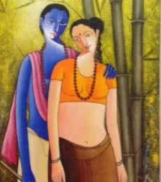 Shivkumar | Acrylic Painting title Krishna Radha I on Canvas | Artist Shivkumar Gallery | ArtZolo.com