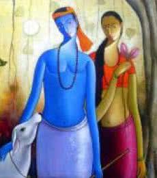 Shivkumar | Acrylic Painting title Krishna Radha II on Canvas | Artist Shivkumar Gallery | ArtZolo.com