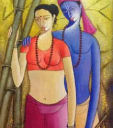 Krishna Radha III | Painting by artist Shivkumar | acrylic | Canvas