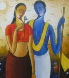 Krishna Radha IV | Painting by artist Shivkumar | acrylic | Canvas