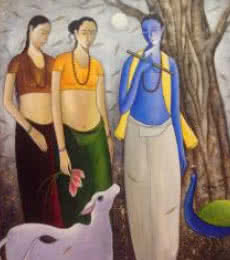 Figurative Acrylic Art Painting title Krishna With Gopis by artist Shivkumar