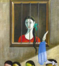 Looking Outside The Window | Painting by artist Shivkumar | acrylic | Canvas
