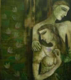 Figurative Acrylic Art Painting title 'Love' by artist Sanjay Sinha