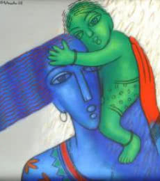 Mother And Child | Painting by artist Rajesh Shah | acrylic | Canvas